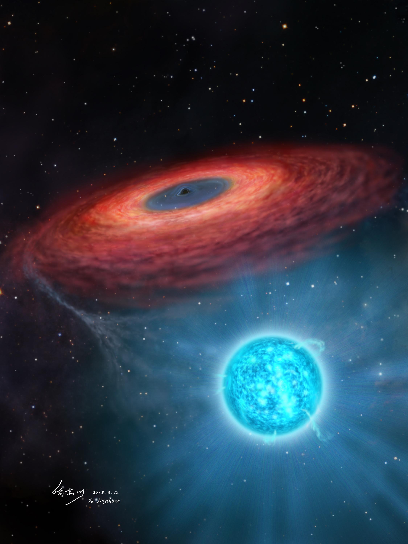 Agujero negro masivo LB-1 junto con su estrella compañera. Crédito: Jingchuan Yu