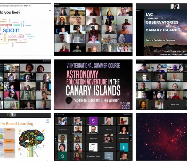 "Mosaico de fotos del curso virtual ""Astronomy Education Adventure in the Canary Islands 2020"""
