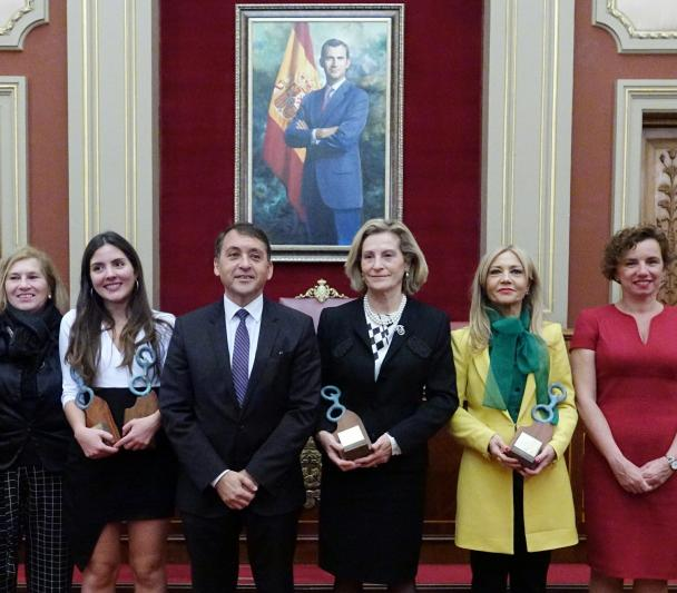 Antonia Varela, Marisa Tejedor, Carolina Martínez and Teresa Giráldez are given distinctions in an institutional act commemorating Women's Day
