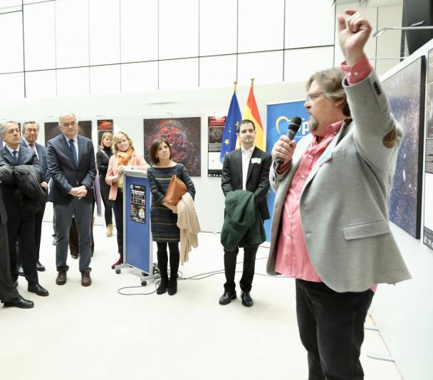 "Alfred Rosenberg during the opening of the exhibition ""100 Square Moons"" in the European Parliament"