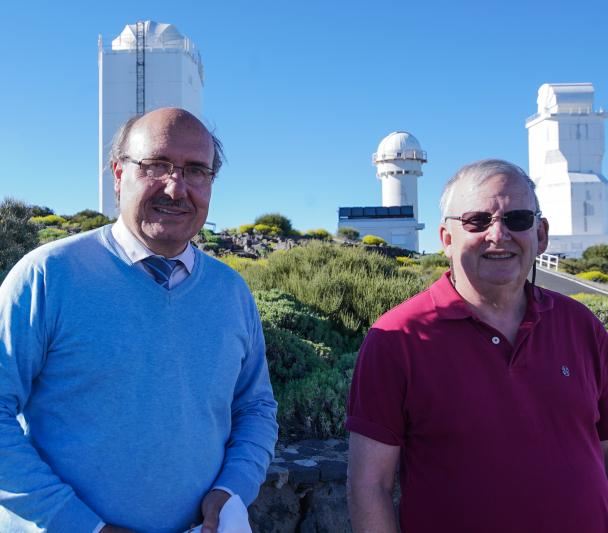 Rafael Rebolo and Wayne Rosing, during his visit to the Teide Observatory