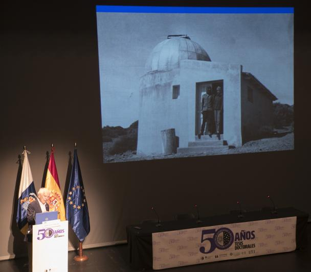 Franciso Sánchez shows one of the first installations at the Teide Observatory