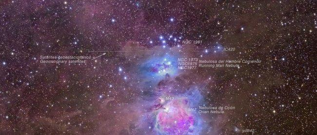 M42, the Orion Nebula, also known as NGC 1796 is a diffuse nebula below Orion's Belt. It is one of the brightest nebulae in the sky, and can be observed with the naked eye during the night. It is some 1,270 light years away, and has a diameter of some 24