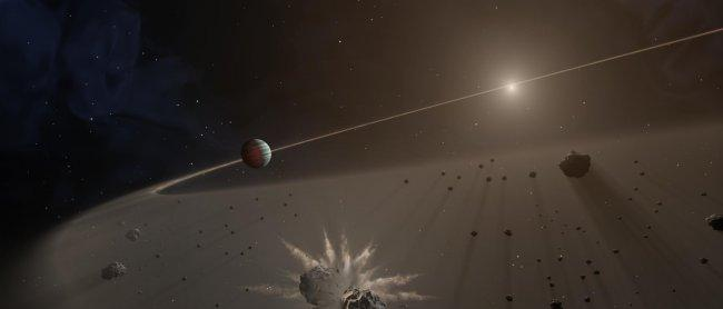 This artist's rendering shows a disk of dust and planetary fragments around a star. Credit: NASA/JPL-Caltech.