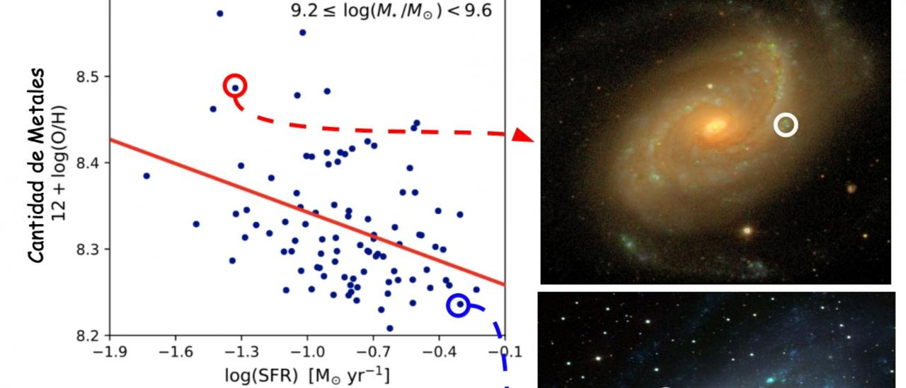 The anti-correlation between the amount of metals and the star formation rate when comparing galaxies with similar stellar mass. Galaxies with more (lower image) and less (upper image) star-forming regions (the blue clumps) are shown.