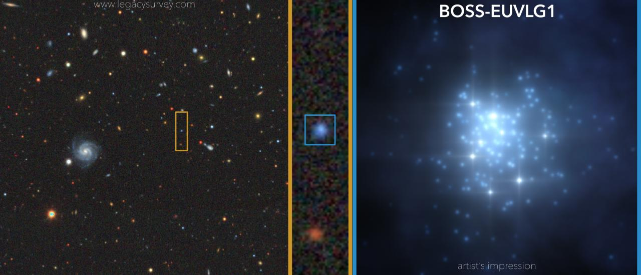 Left and centre: Image of the region of the sky containing BOSS-EUVLG1, which stands out due to its blue colour. Credit: DESI Legacy Imaging Surveys. Right: Artist`s drawing of the burst of star formation in BOSS-EUVLG1, which contains a large number of young massive stars, and hardly any dust. Credit: Gabriel Pérez Díaz, SMM (IAC).
