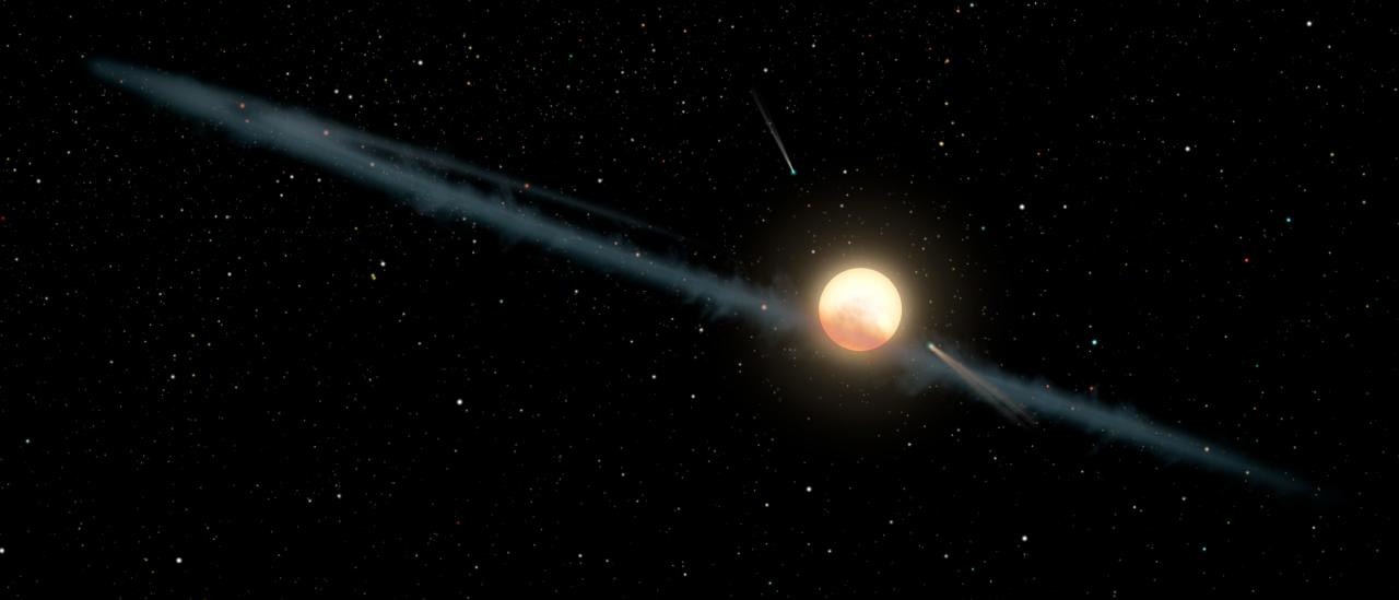Artist's impression of a dust ring and several objects similar to giant comets orbiting around KIC 8462852. Credit: NASA / JPL-Caltech.