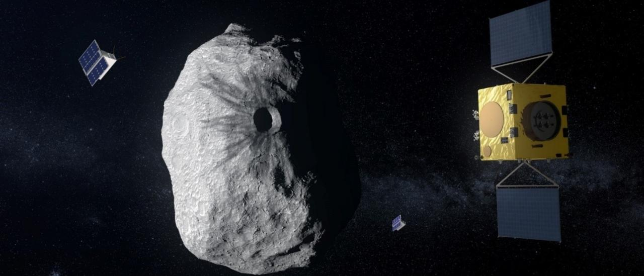 ESA's Hera mission concept, currently under study, would be humanity's first mission to a binary asteroid: the 780 m-diameter Didymos is accompanied by a 160 m-diameter secondary body.