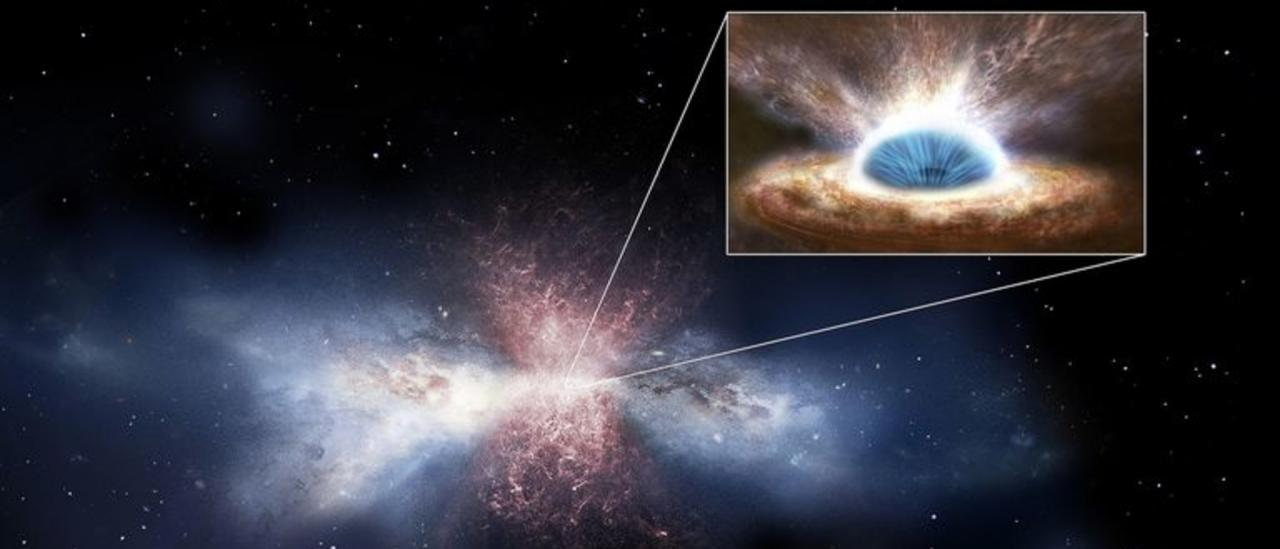 Black-hole winds sweep away the gas in galaxies - Artist's impression.