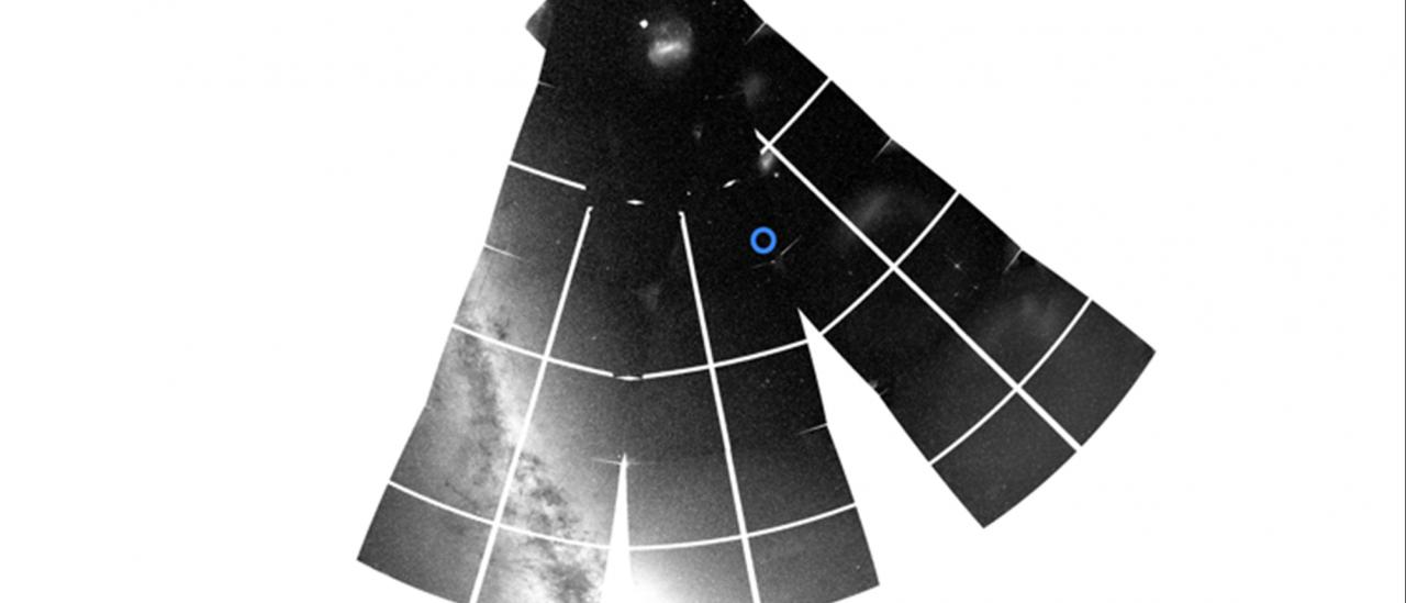 A snapshot from TESS of part of the southern sky showing the location of ν Indi