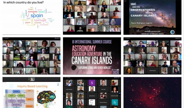 "Collage of photos of the virtual course ""Astronomy Education Adventure in the Canary Islands 2020"""