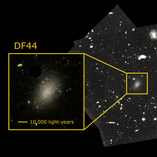 Image and amplification (in colour) of the ultra-diffuse galaxy Dragonfly 44 taken with the Hubble space telescope. Many of the dots on the galaxy are the globular clusters studied in this article to explore the distribution of dark matter. The galaxy is so diffuse that other galaxies can be seen behind it. Credit: Teymoor Saifollahi and NASA/HST.