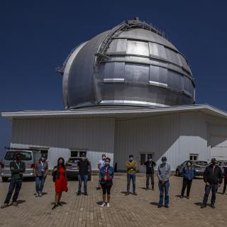 Participants of the III Hispano-American Writers' Festival during their visit to the Roque de los Muchachos Observatory. Credit: Juan Antonio González Hernández / IAC.