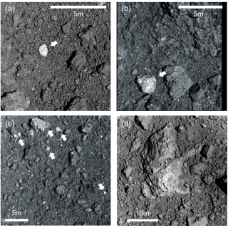 High-resolution images of the bright boulders (arrows) during Hayabusa2 proximity operations. Especially, the images obtained during the first touchdown operation (a-c) show much smaller bright fragments in regolith everywhere (adapted from Fig.1 in Tatsumi et al. 2021).
