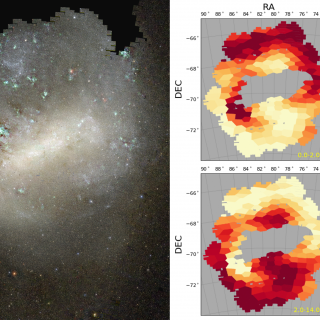 Left: Colour image of the Large Magellanic Cloud, directly obtained from SMASH data. Right: Spatial distribution of the stellar mass fraction of stars younger (top) and older (bottom) than 2 billion years.