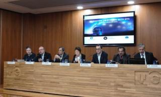 VI Meeting on Science with GTC opening conference. From left to right: María Rosa Zapatero, Rafael Rebolo, Rafael Rodrigo, María Vicenta Mestre, José Carlos Guirado, José de Jesús González and Vicent Martínez. Credut: Silvia Granja (IAC).