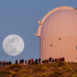 The Optical Ground Station and the Moon at the Teide Observatory