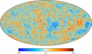Full-sky map showing the spatial distribution of the primary anisotropies of the Cosmic Microwave Background (generated 380,000 years after the Big Bang) derived from observations of the Planck satellite